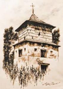 Widok nieistniejącej dzwonnicy w Makowej (rys. Andrzej Żygadło)