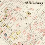 Szkic do mapy katastralnej (1852 r.) z widokiem założenia zespołu cerkiewnego cerkwi parafialnej
