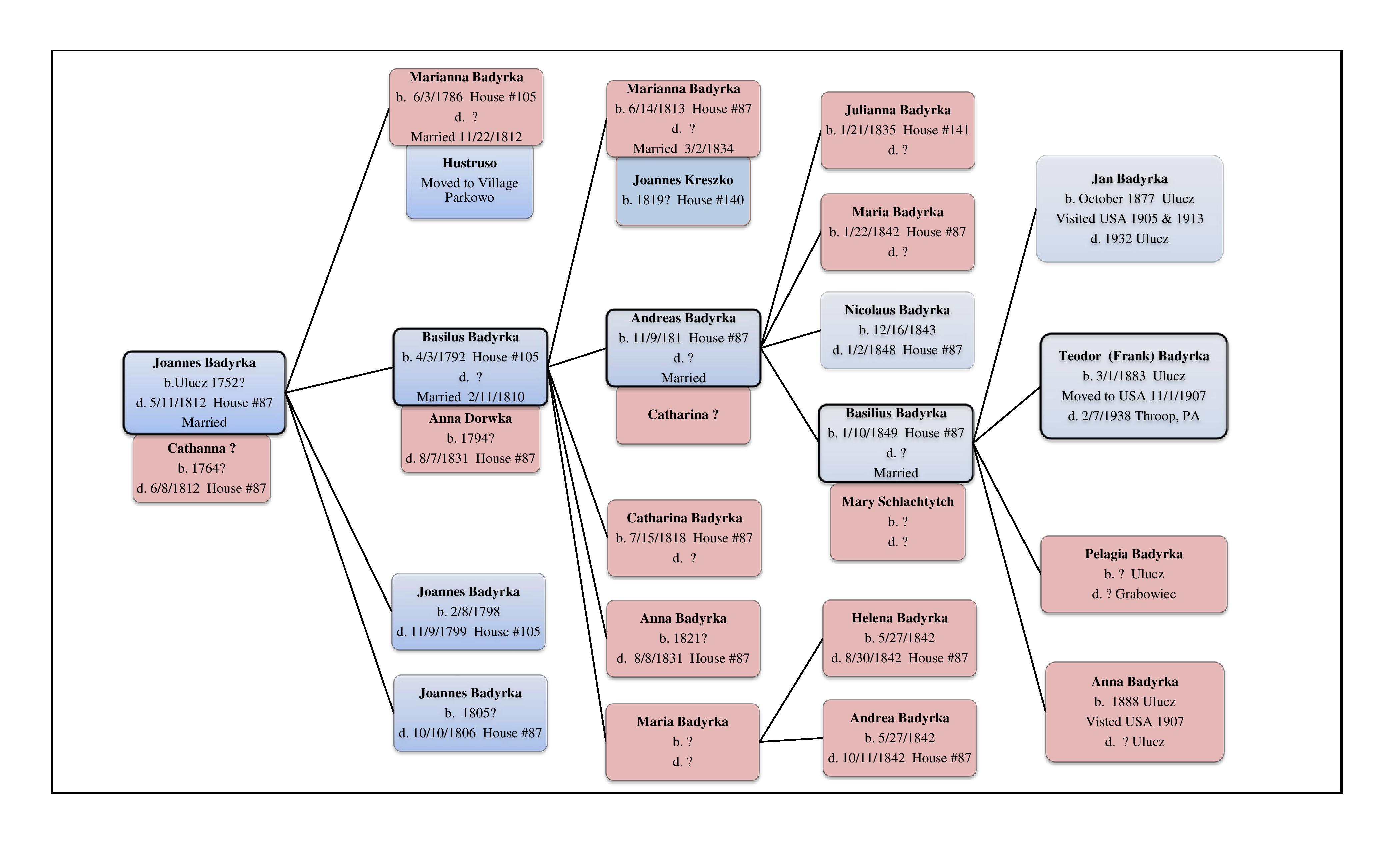 The Badyrka family tree-research by Peter Bush
