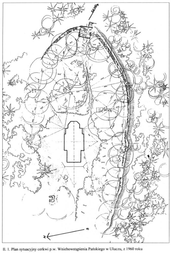 Plan sytuacyjny cerkwi p.w. Wniebowstąpienia Pańskiego w Uluczu z 1960 roku