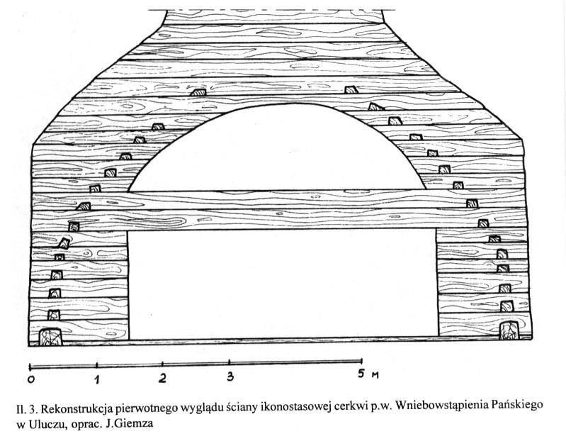 Rekonstrukcja pierwotnego wyglądu ściany ikonostasu cerkwii p.w. Wniebowstąpienia Pańskiego w Uluczu- opracował Jarosław Giemza